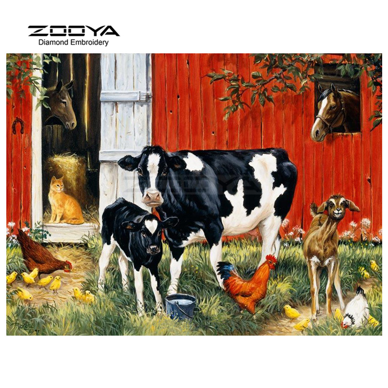 ZOOYA Diamond Embroidery 5D DIY Diamond Painting Cow Cock Horse Cat Diamond Painting Cross Stitch Rhinestone