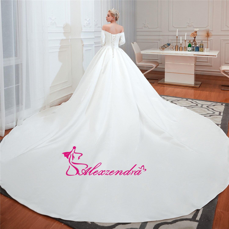 Alexzendra robe de bal en Tulle brillant robes de mariée élégantes pour la mariée perlée ceinture Vintage princesse mariée robes de grande taille - 3