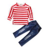 Mais estilo de Natal meninas roupas estabelecidos para o Verão outono Moda Meninas define camisa denim moda rendas Crianças conjuntos de roupas
