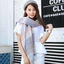 Autumn Winter Women's Scarves Fashionable Warm Tartan Shawls and Wrap Long Plaid Pashmina with Tassel 200x70cm SC001