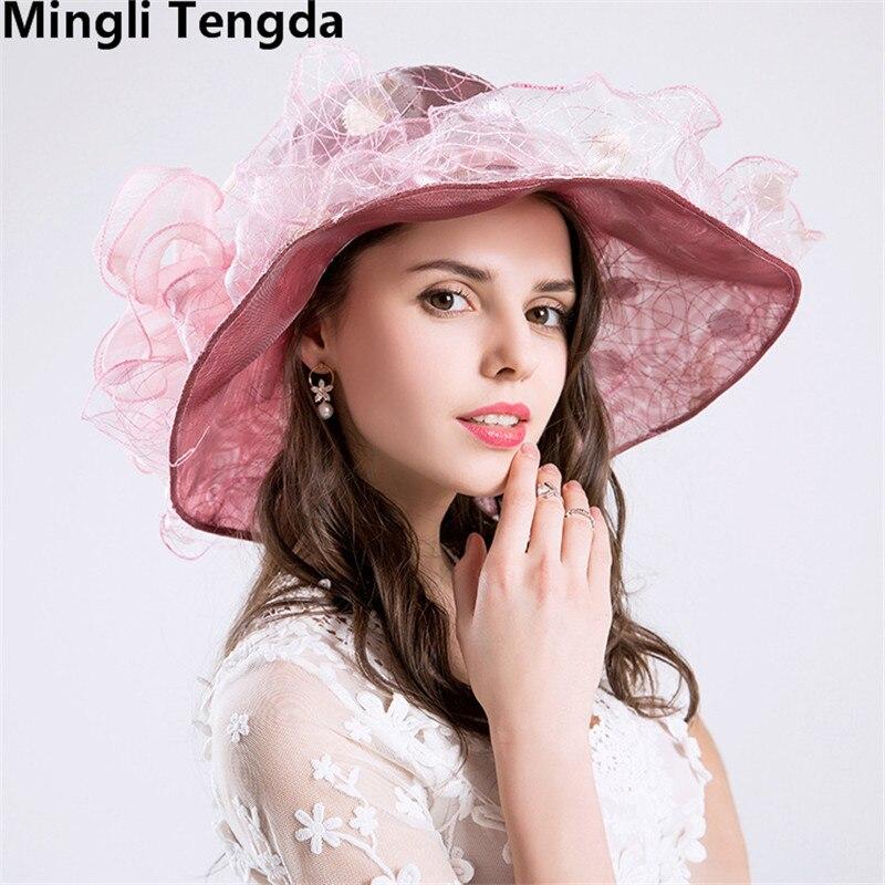Новинка, Свадебные шляпы из органзы для женщин, элегантные вуалетки, Свадебные шляпы с цветами и шляпки с бантом, свадебные аксессуары mingli Tengda - Цвет: Pink