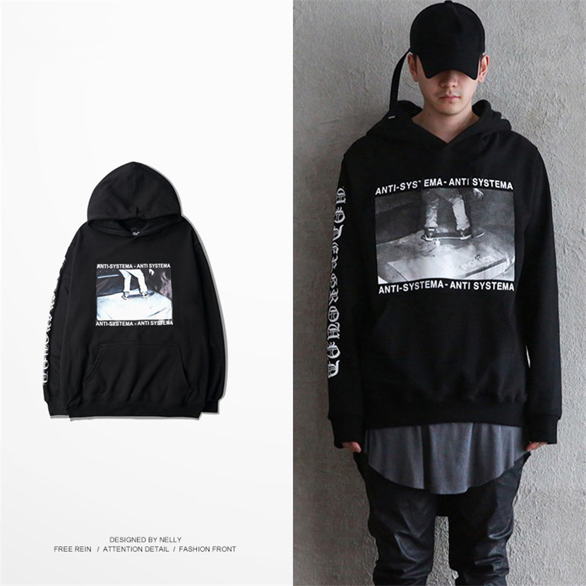 Men Or Women Hoodies Skateboarding Printed Hip Hop Loose Hoodies Black/Grey Color Sportwear hoodies