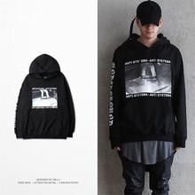 купить Men Or Women Hoodies Skateboarding Printed Hip Hop Loose Hoodies Black/Grey Color Sportwear по цене 2467.01 рублей