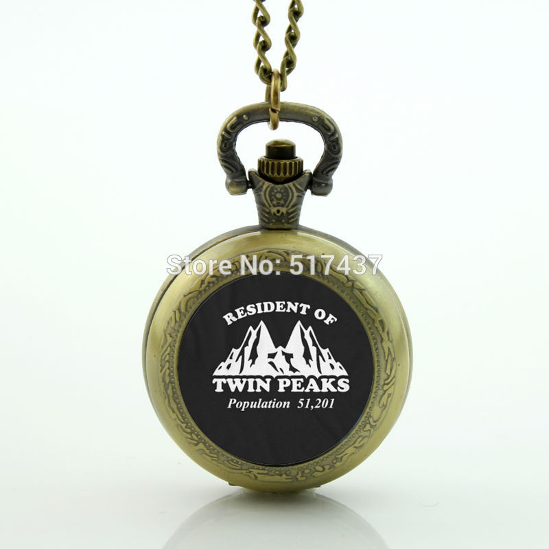 Twin Peaks Pocket Watch Floating Glass Lockets Necklace Vintage Pocket Watch Necklace