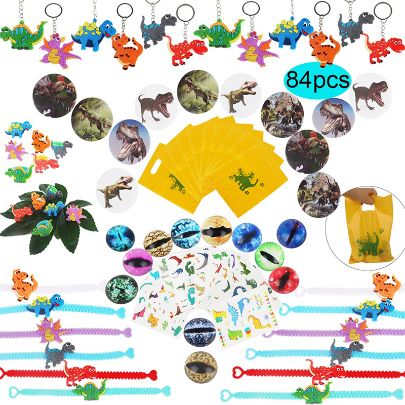 Dinosaur Party Favor For Kids Birthday Party Bags Toys Rings Bracelets Tattoo Dinosaur Party Supplies Baby Shower Gifts Keychain-in Party Favors from Home & Garden