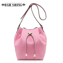 Spring fashion Pink sky blue women s messenger bag 100 Genuine leather bucket bag small drawstring