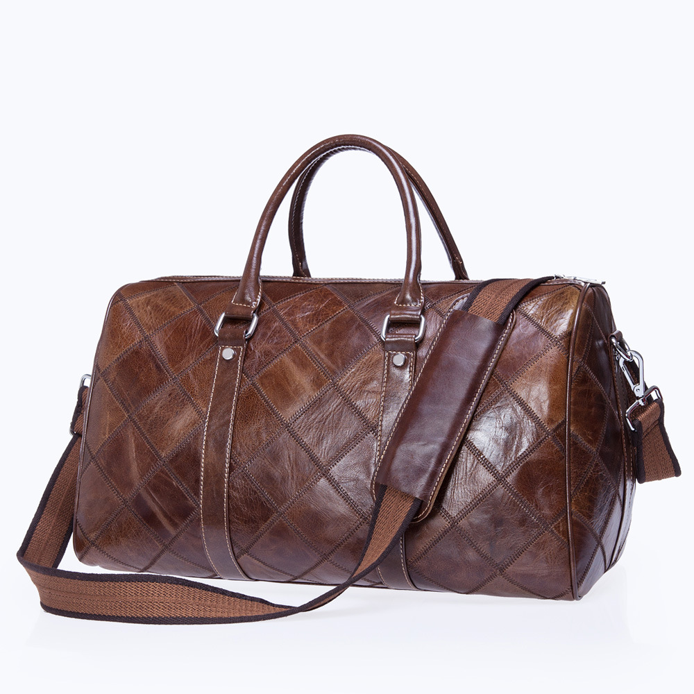Travel Bag Men Genuine Leather Duffle Bag Travel Packing Cubes Shoulder Weekend Big Bag Hand luggage Overnight Sport Reisetasche