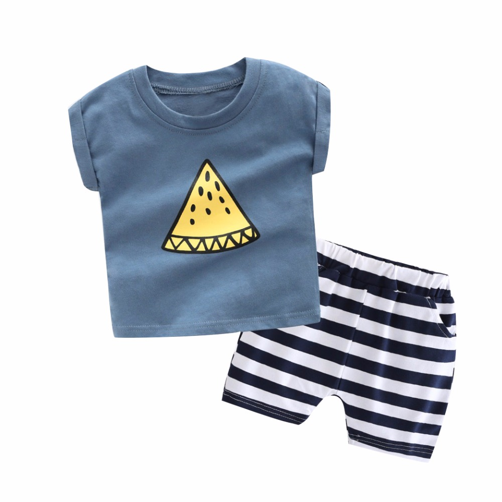 Summer time Boys Garments Kids Brief Sleeve T Shirt Stripe Brief Pants Lady Seashore Units Child Sport Swimsuit Cotton Informal Child Clothes