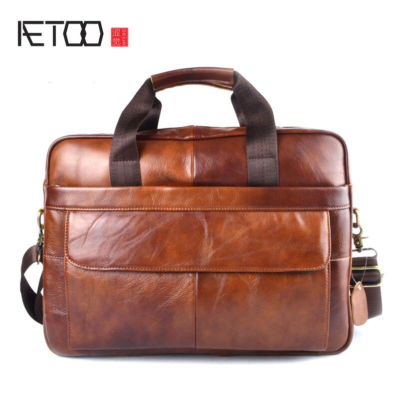AETOO натуральная кожа сумка для ноутбука сумки из воловьей кожи мужская сумка через плечо мужская дорожная коричневая кожаная сумка-портфел...