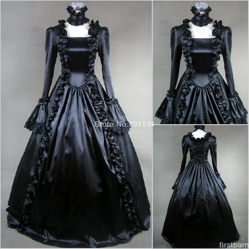 ecc4ec144a59 Free Shipping long sleeves black gothic victorian dress civil war  renaissance steampunk gown halloween costumes for women-in Dresses from Women's  Clothing ...