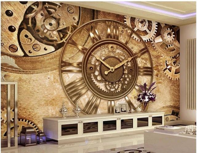 Custom Photo Mural 3d Wallpaper Retro Gear Clock Background Wall Home Decor Living Room
