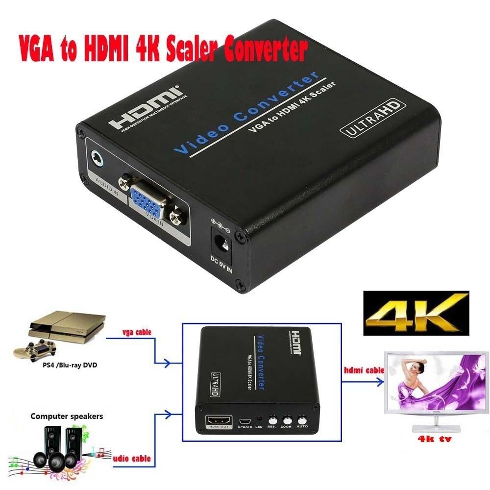 4 k HDTV Audio Vidéo Scaler HD Audio VGA à HDMI 4 k Scaler Convertisseur Analogique à Numérique 4 k * 2 k Sortie HDMI pour PC Portable VGA Moniteur