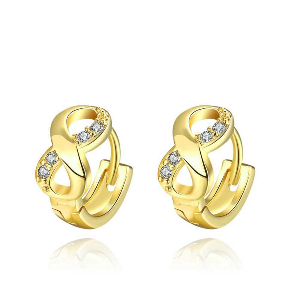 A++ Diamond Infinity Huggie Hoop Earrings Quality Solid Sterling Silver