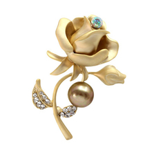 2019 Pretty Metal Rose Flower Brooches Matt Color Simulated Pearl Crystal Brooch Pin for Women Clothing Dress Pin Up Jewelry цена 2017