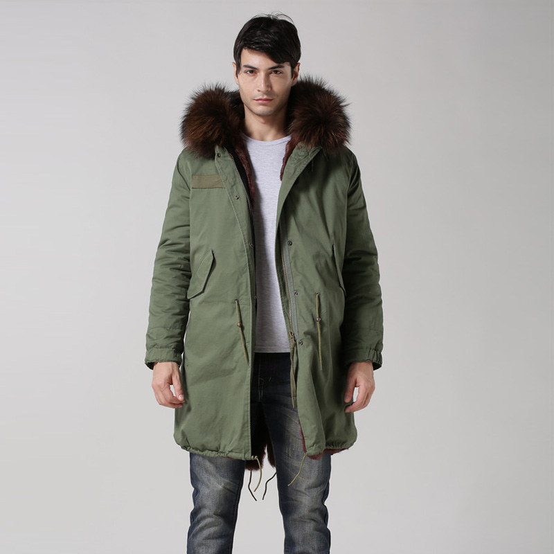 Wholesale & retail high qulity S-XXXXL winter fur parka hood army green man parka fur coats