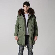 Оптовая и розничная высокое качество S-XXXXL зимние меховые куртка капюшоном армия зеленый человек куртка шубы