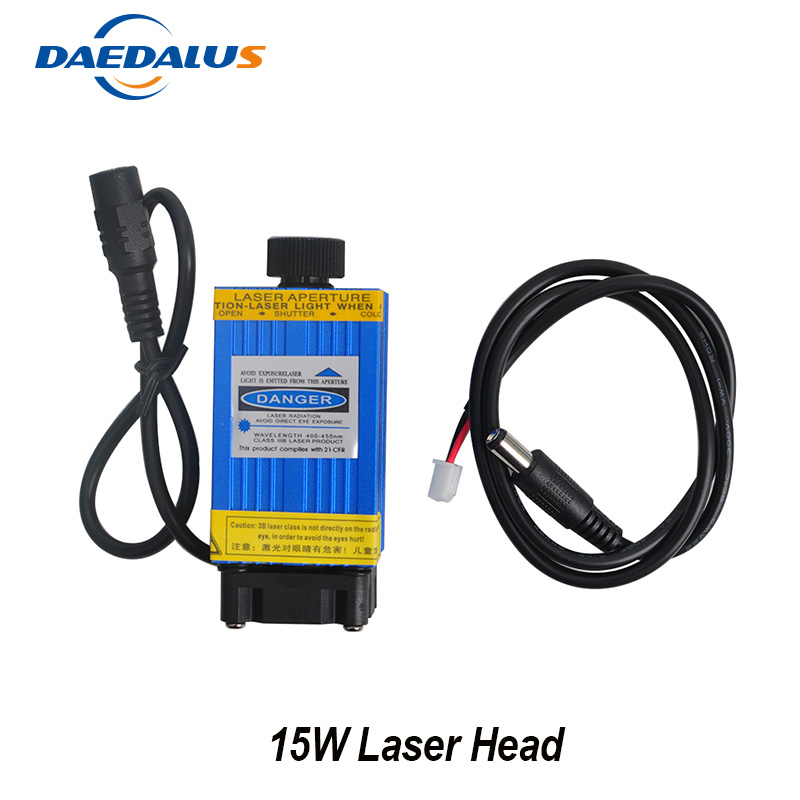 Daedalus 15W Laser Head Fixed Focus Laser Module 1500MW Stainless Steel DIY Cutting TTL Module For Wood Router