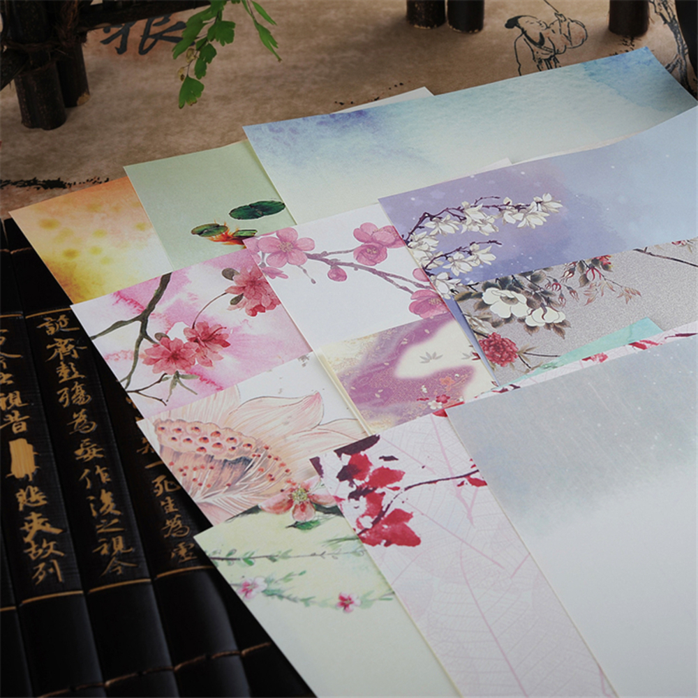 8 pieces / more pieces of ancient Chinese hyacinth seal paper lovely flowers letter paper for children Korean stationery 928