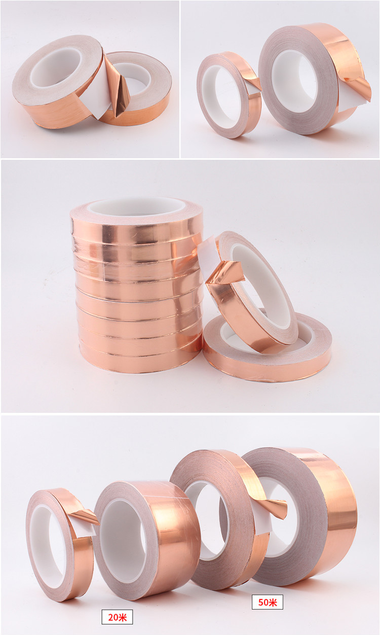 20 Meters Single Side Conductive Copper Foil Tape Strip Adhesive EMI Shielding Heat Resist Tape