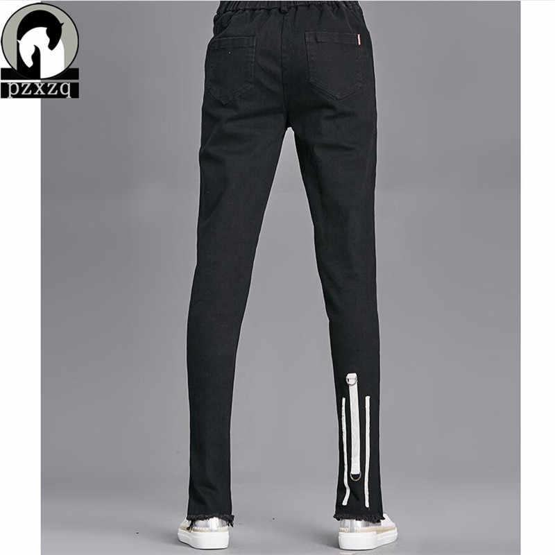 5110e245 ... 2018 отверстие Зауженные джинсы Для женщин джинсовые штаны-шаровары  отверстия уничтожено колена узкие брюки повседневные ...