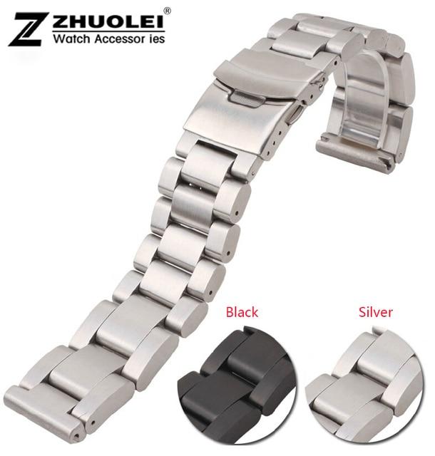 Venda de reloj 22mm 24mm 26mm Nuevos Hombres Pesados de Plata Negro cepillado de Acero Inoxidable Venda de Reloj Correas de Reloj Brazaletes Doble Bloqueo cierre