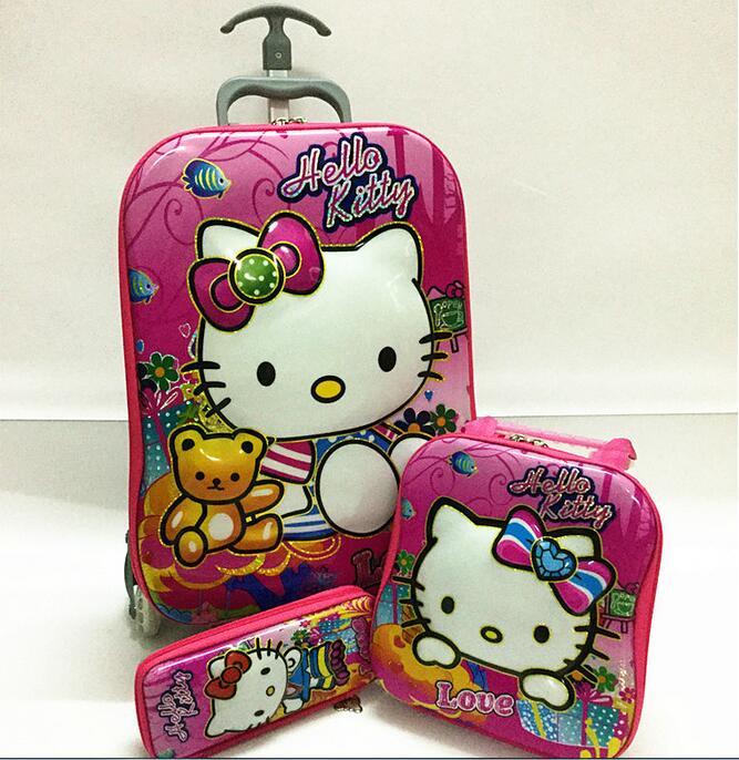 ФОТО New Hello Kitty luggage sets 6D EVA three-piece ( trolley luggage +Lunch Box +pencil Case) Cartoon children luggage set
