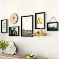 5 pcs/set With Clock Modern Styel Photo Frame For Paintings Collage Photo Frame Set Home Decor Frame Combination For Wall Decor