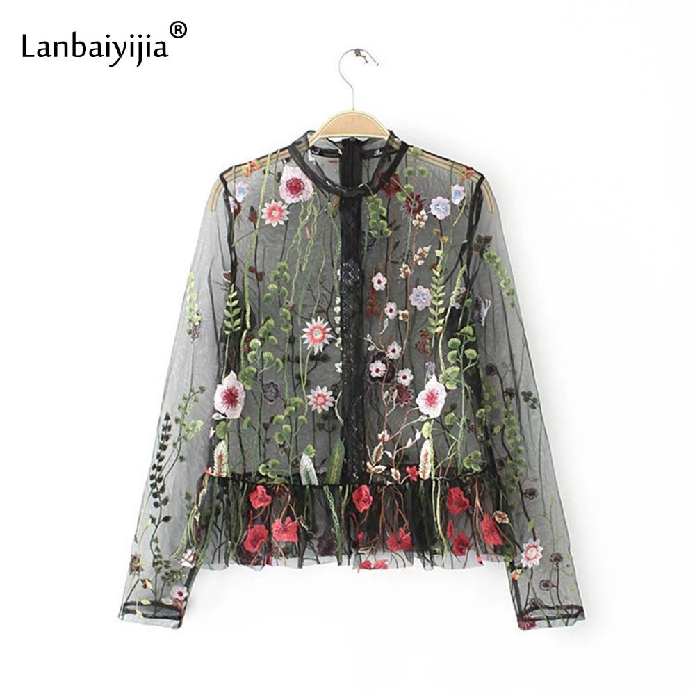 Lanbaiyijia Net fil femmes Blouse broderie Floral chemise à manches longues col montant transparent chemises femmes mode marque chemise
