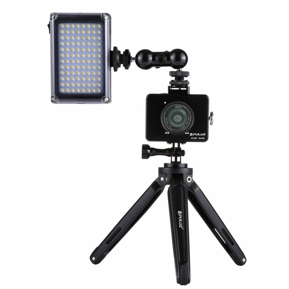 PULUZ ensemble trépied pour Sony RX0 boîtier coque Cage + rotule bras magique + trépied de bureau support + lumière + Kits Microphone noir - 3