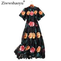 Вышивка большой маятник платье High Street цветочные кружева o образным вырезом с расклешенными рукавами тонкое платье 2019 Подиум Весна и лето но