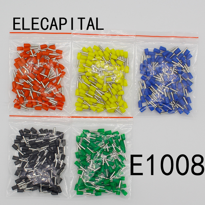 <font><b>E1008</b></font> Tube insulating Insulated terminals 100PCS/Pack 1MM2 Cable Wire Connector Insulating Crimp Terminal Connector E- image