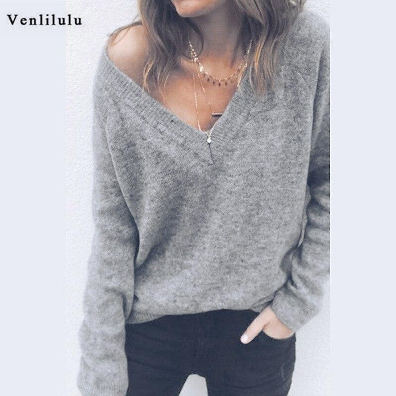 Сексуальные свитера с v образным вырезом спинки вязаный свитер Для женщин