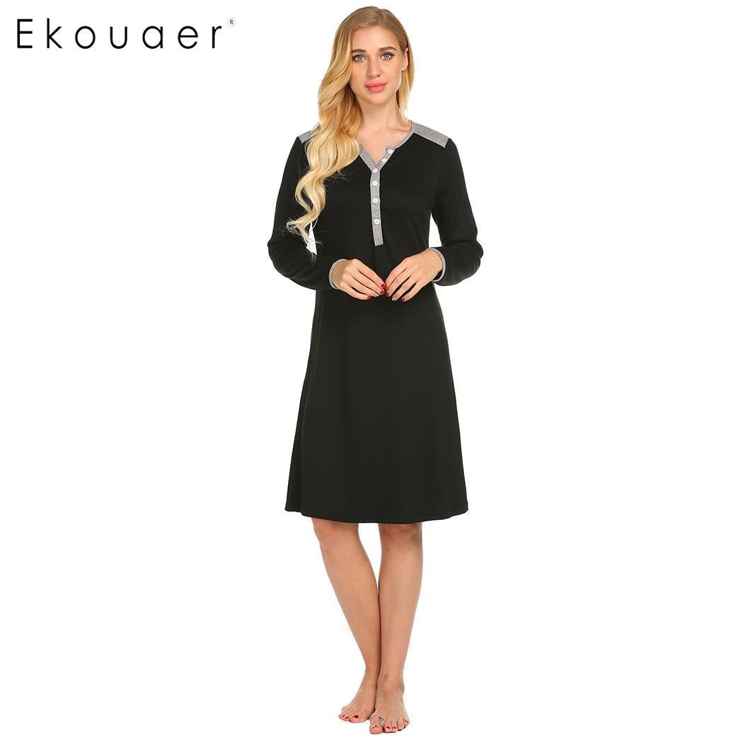 Ekouaer Women Nightgown Chemise Sleepshirts Casual Long Sleeve Patchwork Nursing Maternity Night Dress Spring Autumn Sleepwear
