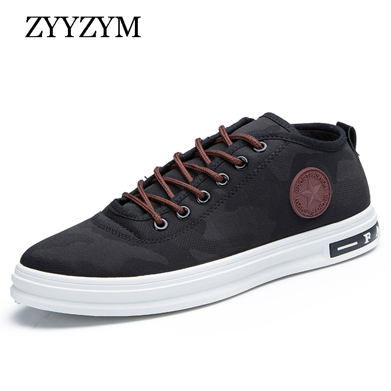 ZYYZYM Men Canvas Shoes Lace-Up Classic Style Camouflage Breathable Casual Shoes for Sudent Hot Sale casual color block lace up breathable sports shoes for men