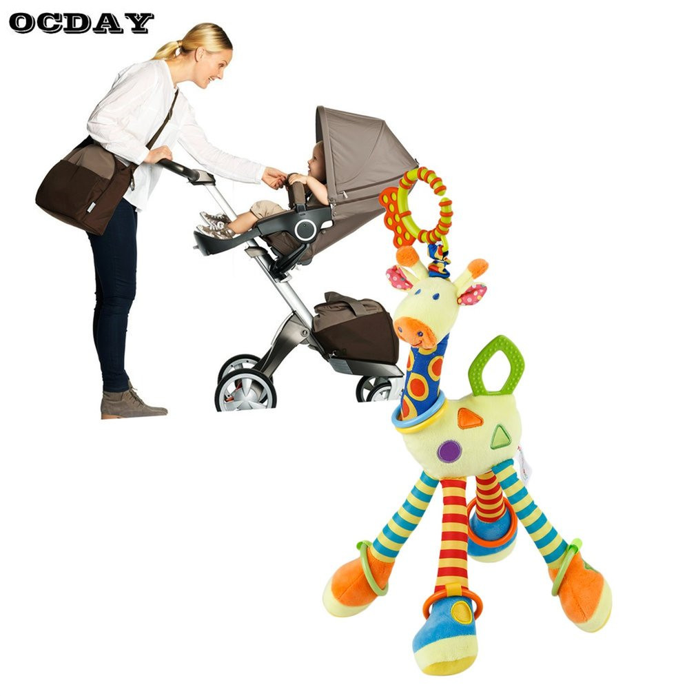 OCDAY Soft Giraffe Baby Pram Bed Bells Hanging Toy Animal Handbells Rattles Funny Educational Mobiles Toys Hand Bell Rattle Hot