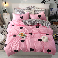 Bonenjoy Pink Color Heart Printed Bed Linen Set Single Double Queen King Size Bedding Set Couple Bed Set Quilt Cover Bed Sheets