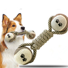 Fashion Dog Toys Cotton Rope Tennis Hard and Solid Chewing Molar Toy Fun Relaxing for Pet Supplies