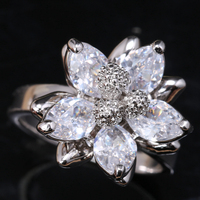 Luxurious Tridimensional Flowers White Cubic Zirconia 925 Sterling Silver Fashion Women S Jewelry Rings US Size