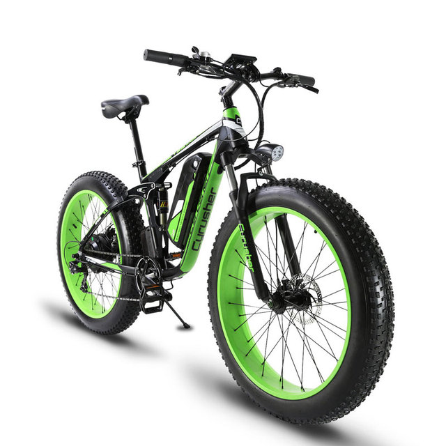 Cyrusher XF800 1000 W 48 V электрический велосипед полностью подвесная рама 7 скоростей widewheel Дорожный велосипед Открытый Смарт Спидометр Ebike