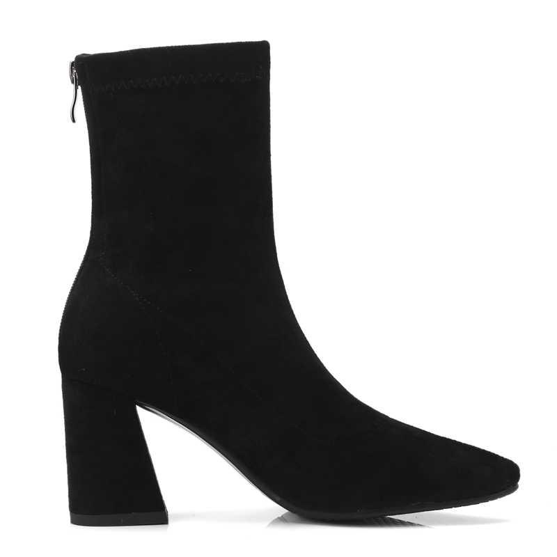 AnmaiRon Spitz Botas Mujer Bella Hadid Winter Stiefel für Mädchen Stiefel Frauen Botines Mujer 2018 Größe 34-40 ZYL1428