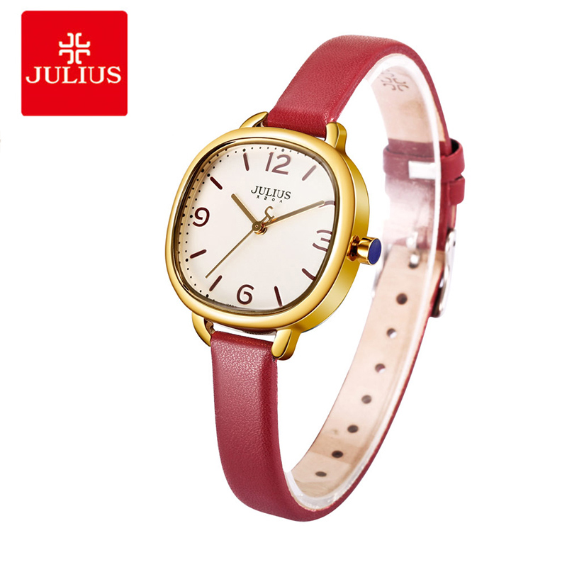 Julius Brand Thin Leather Strap Women Watches Ladies Square Dial Bracelet Watches Female Quartz Wrist Watch Relogio Feminino