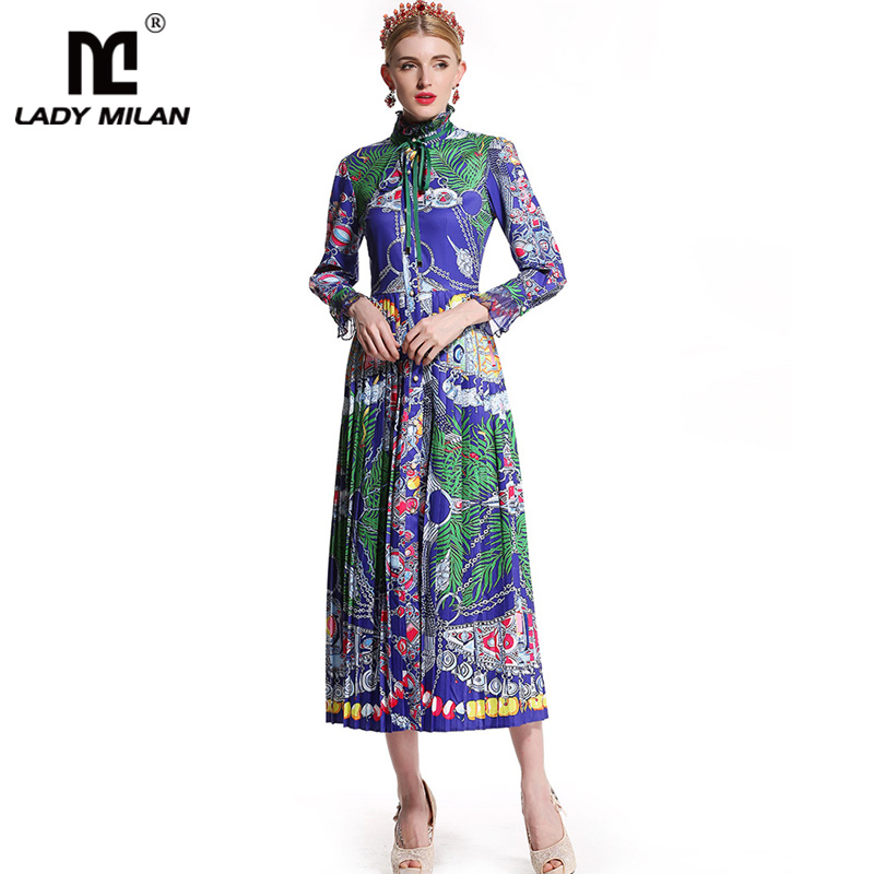 New Arrival 2018 Womens Stand Collar Ruffles Long Sleeves Printed Pleated High Street Fashion Casual Mid Calf Dresses
