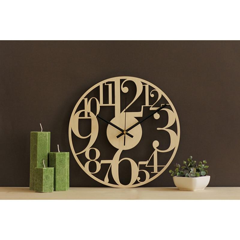 Creative Bamboo Wall Clock Simple Modern Design Natural Wooden Wall Clock Round Wall Art Clock Home Decor Silent 12