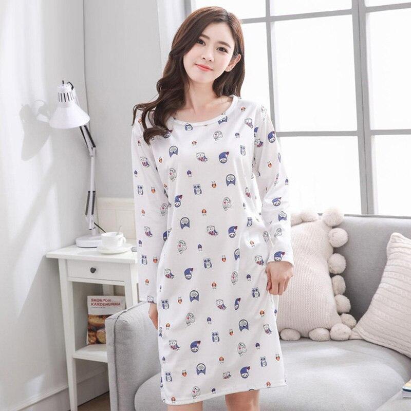 Yidanna nightwear 2018 long sleeved nightdress Nightgown lady sleepshirts milk silk girl sleepwear women sleep clothing autumn