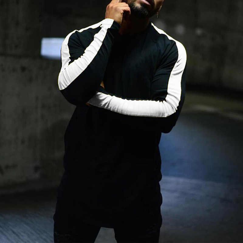 男性ファッション長袖パッチワークトップ Tシャツスリムフィット tシャツロングブラウスジムスポーツカジュアル Tシャツ S/M/ l/XL/2XL/3XL