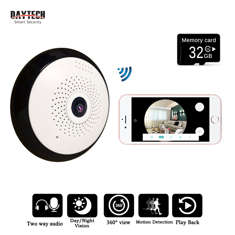 DAYTECH Wireless WiFi IP Camera Home Surveillance Fisheye Panoramic Camera Wi-Fi Network Monitor Audio Record 360 Degree View