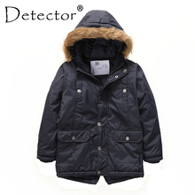 Detector Boys Parka Jackets Hooded Warmly Children Cotton Coats Boy Winter Fur Coat Kids Hiking Jacket Clothes Outerwear