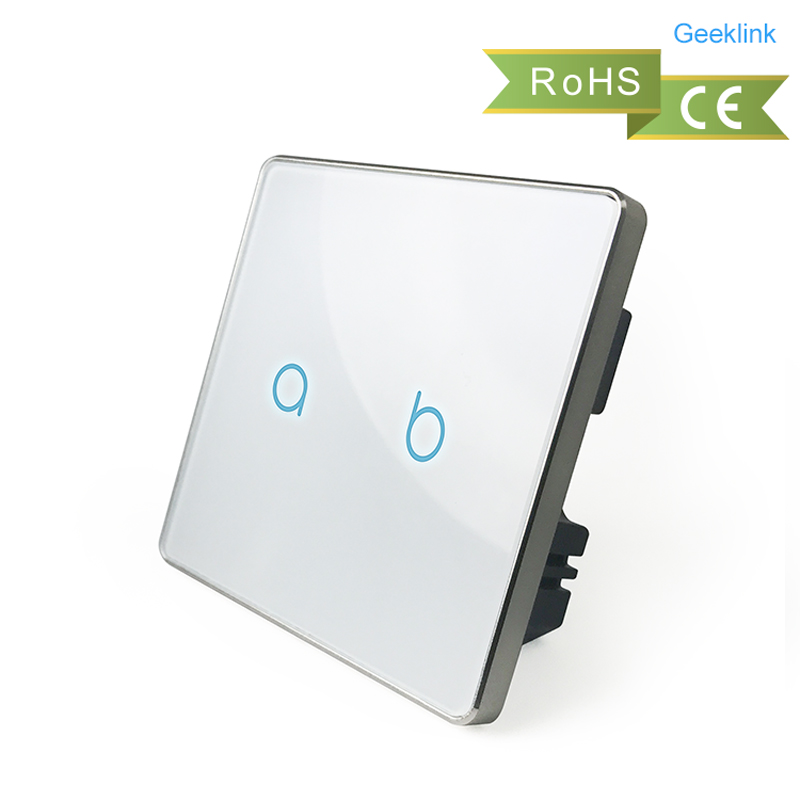 Geeklink  UK  2gang 1 way smart touch light switch with feedback for on/off status,remote control by phone via Thinker. zaykins платья