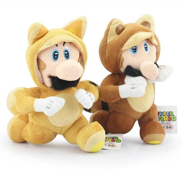 "8""20cm Super Mario Bros Plush Dolls Running Kitsune Tanooki Mario and Fox Luigi Plush Doll Toy With Tag"