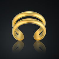 Men Jewelry Antique Double Layer Charm Rings For Woman/Men Hollow Gothic Rings Gold Color Wide 10MM Stainless Steel Jewelry